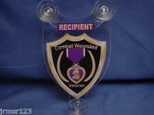 PURPLE HEART RECIPIENT  U.S. MILITARY CAR SHIELD. NAVY-ARMY-MARINES