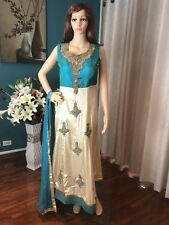 "40"" M Designer Silk Salwar Kameez Indian Bollywood Anarkali Turquoise Green A3"