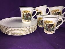 Crown Staffordshire 12 Piece Luncheon Set,Pitcher Of A 1894 Peugeot Auto on Cups