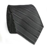 "ZENIO Men Dress Tie Black Stripes 2.75"" wide 58"" long 100% Microfiber"