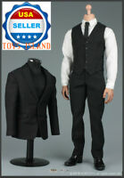 """1/6 Black Formal Business Suit Set For 12"""" Hot Toys PHICEN Male Figure ❶USA❶"""