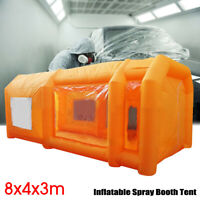 8X4x3m Portable Inflatable Tent Paint Car Spray Booth Orange 210D Oxford cloth