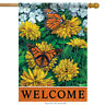 """Sunny Monarchs Spring House Flag Butterfly Welcome Double Sided Banner 28"""" x 40"""""""