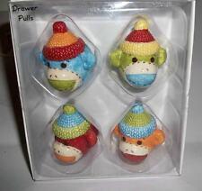Cutie Sock Monkey Ceramic Knobs Drawer Pulls Handles Baby Boy Girl Nursery NEW