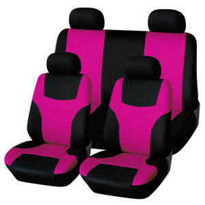 8pcs Pink/Black Car Seat Covers Fit for Auto SUV Van Interior Accessories