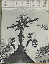 1957 en ESPAGNE Croix de Fer Forgé CIUDAD RODRIGO ANGES LANTERNES
