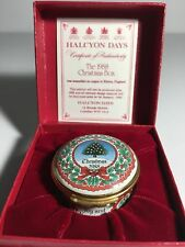 Halcyon Days Christmas 1988 Trinket Box w/ Certificate and Original Box