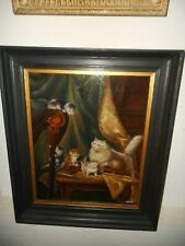 Large old oil painting,{ Mother cat with her kittens, is signed, nice frame }.
