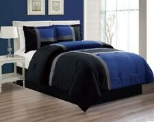 4 Pc KING Size Navy Blue Black Down Alt Patchwork Comforter Set Bedding