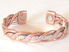NEW SOLID COPPER Mens Braided Adjustable Cuff Bracelet w MAGNETS Pain relief