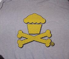 Used Johnny Cupcakes Logo Cupcake Crossbones T shirt Gray Mens XL Extra Large