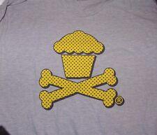 Used Johnny Cupcakes Logo Cupcake Crossbones T shirt Gray Mens XL Extra Large