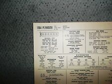 1964 Plymouth SIX Series Taxi Savoy Belvedere Fury 170 & 225 CI L6 Tune Up Chart