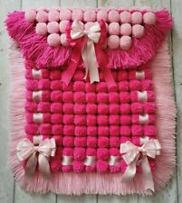 Baby Pink And Rose Pink Pompom Baby Girl Pram Blanket With Matching Ribbon Bows