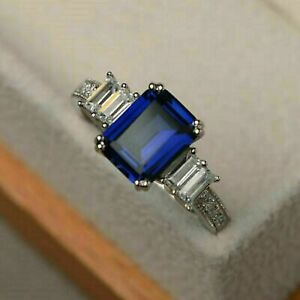 3Ct Emerald Cut Blue Sapphire Diamond Engagement Ring Solid14K White Gold Finish