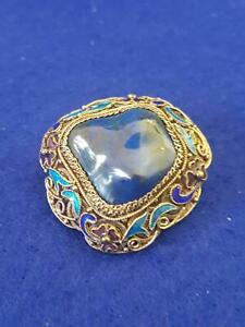 Art Deco 1930s Chinese Silver & Tumbled Blue Gemstone Filigree Enamel Brooch
