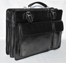 Italienische echt Leder Aktentasche Aktenkoffer PC Tasche schwarz Ranzen
