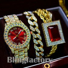 MENS HIP HOP TRENDY BLING WATCH & RED GEMSTONE NECKLACE & ICED CUBAN BRACELET