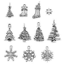10Pcs Mixed Tibetan Silver Christmas Theme Charms Pendants DIY Craft