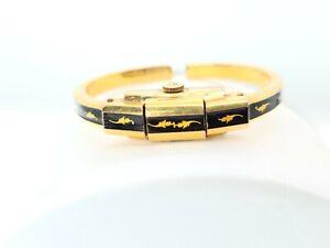 Vintage Spera Locket Bangle Bracelet Watch 17 Jewel Womens Gold Leaf Enamel