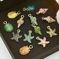 13 Pcs Mixed Starfish Conch Shell Metal Pendants Charms Jewelry Making Craft DIY
