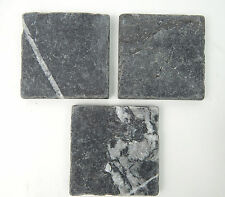 Set of 3 Natural Gray Slate tiles 4 x 4 stone for backsplash or project