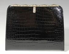 Vintage Black Aligator Embossed Leather Belt Purse Handbag Marcasite Frame Clasp