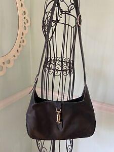 vintage black GUCCI leather gold Hardwear shoulder Bag Purse