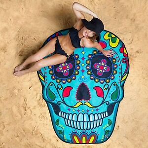 GIANT 5 FT SUGAR SKULL - Beach Pool Shower Towel Blanket - BigMouth Inc.
