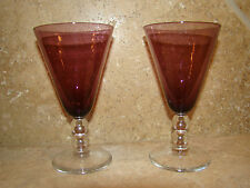 """Cordial Glasses 5"""" Purple Amethyst Glass Tops & Clear Bubble Stems Set of 2 #15"""