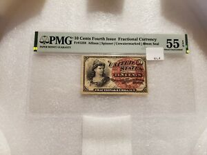 10 Cents Fourth Issue Fractional Currency Fr#1258 PMG 55 EPQ About Uncirculated