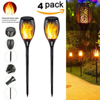 1-4 Pack 96 LED Waterproof Solar Tiki Torch Light Dancing Flickering Flame Lamp