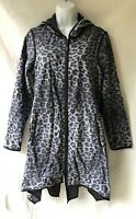 Mycra Pac Now Reversible Hooded Rain Jacket Size S (0-P) 6 8 Black Gray Leopard