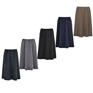 Ladies Womens 8 Panel Skirt 27 Inch Length Elasticated Waist Plain Coloured KK59