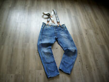 LEE WORKER OVERALL W33 L30 (L32) HOSENTRÄGER/ SUSPENDER JEANS DIRTY WASH RARE