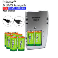 8pcs Etinesan 1350mAh 3v CR123A rechargeable LiFePO4 li-ion battery + Charger
