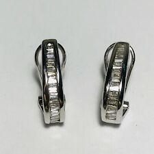 0.80 Ct Baguette Shaped Diamond Omega Back Hoop Earrings 14K White Gold Finish