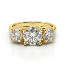 2.00 Ct Round Solitaire Diamond Engagement Ring 14K Solid Yellow Gold Size 6 7