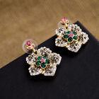 Boucles d`Oreilles Clous Crystal Rose Gris Vert Fleur Vintage Retro Cadeau XX 4