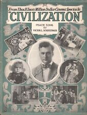 Civilization 1916 Silent Film Sheet Music Helped Elect WOODROW WILSON Peace Song