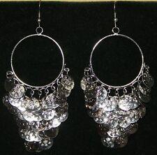 Silver Toned Tribal Cabaret Gypsy Chandelier Belly Dance Dancing Coin Earrings