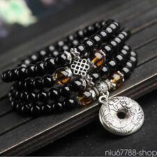 6mm 108pcs Tibetan agate Buddhist Buddha Prayer Beads Mala Bracelet Necklace