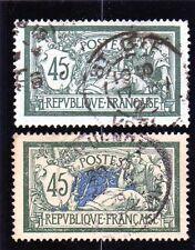 """MERSON N°143a. 45c.vert et bleu ob .VARIETE """"SANS TEINTE DE FOND""""  . Côte 765 e"""