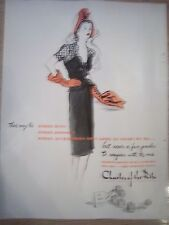 1943 Charles of Ritz Perfume Lady Orange Hat Gloves Ad