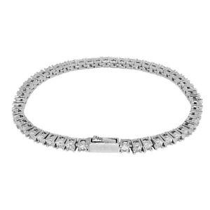 Iced VVS Diamond Out Tennis Bracelet 3mm 18K White Gold Plated Rapper Jewellery