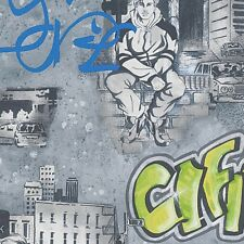 GREEN BLUE BLACK GREY URBAN GRAFFITI WALL FEATURE WALLPAPER A.S.CREATION 30468-2
