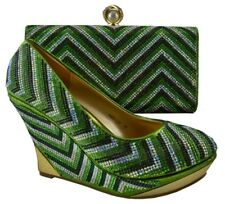 Ladies Italian Lemon Green Rhinestone Decorated Matching Shoes and Bag Set Party