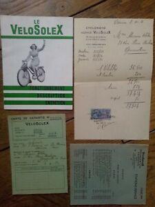 Velosolex 1951 Notice ,facture, garantie, liste concessionnaires. Très bon état