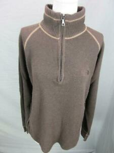 The North Face Size M Mens Brown Cotton Wool 1/2 Zip Pullover Sweater T686