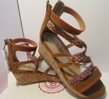 Girls Sandals So cork wedge heel Size 13 brown pink blue woven Strappy 8-1162A